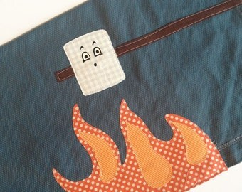 Campfire S'More Marshmallow over Camp Fire Kitchen Towel - Anniversary, Wedding, Housewarming - Applique on hand dyed Steel Blue Huck Towel