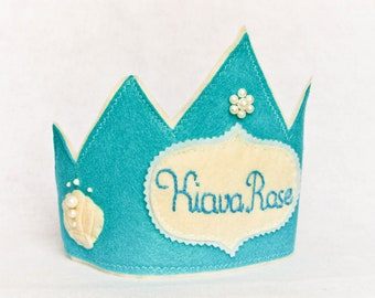 Mermaid Birthday Felt Crown, Personalized Beach Costume Accessory, Blue , Photo Prop