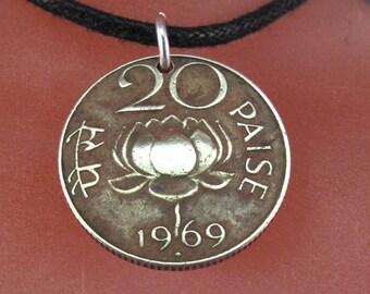 INDIA COIN Necklace  - lotus flower -  lion god -  buddhism - hindu sutra - rebirth spiritual awakening - waterlily vintage No.001265