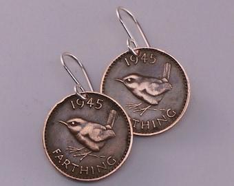 WREN EARRINGS. England earrings. bird coin earrings. jenny wren farthing earrings. coin jewelry. coin earrings  No.00831
