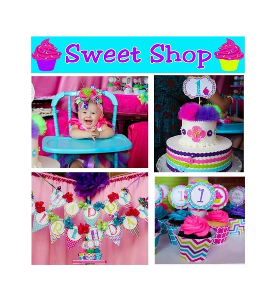 DIY Sweet Shop Cupcake Deluxe Birthday Party  PRINTABLE Package hot pink teal  lime green purple cupcake