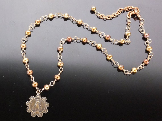 Religious Jewelry Necklace Wire Wrapped Bronze with Fresh Water Pearls and Miraculous Medal