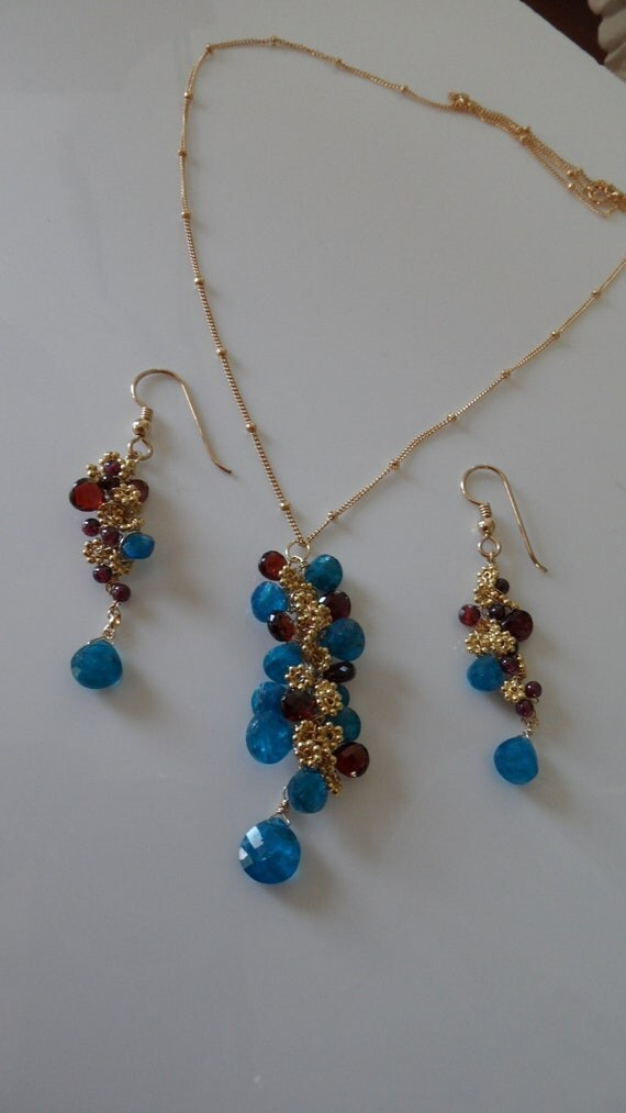 """RESERVED FOR T Blue apatite and red garnet gemstones 18"""" long necklace with 14kt gold filled chain"""