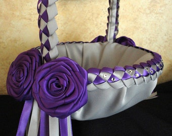 Wedding Flower Girl Basket, Silver Purple or Custom made to your colors with Satin Flowers, Ribbons and Swarovski Crystals