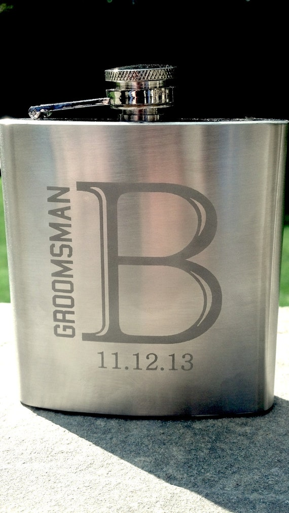 Etched Groomsman flask, 6 ounce, stainless steel personalized flask.  Groomsmen and Best Man gift