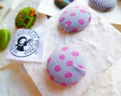 Button earrings made fabrics