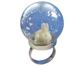 Snow globe ring sterling silver with white rabbit or brown bunny
