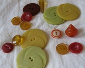 Unique Vintage Buttons - MOVING SALE - Colorful Instant Collection - Fifteen Buttons from the 1920s, 1930s and 1940s