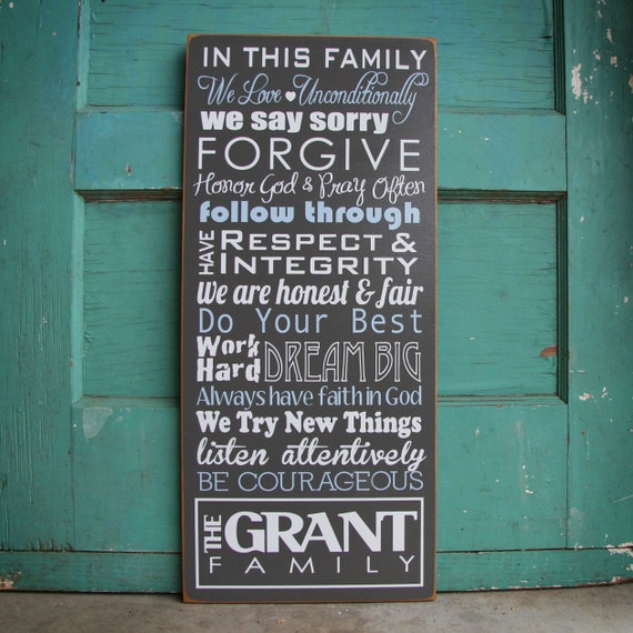 Custom Family Wood Sign- with mission statement or house rules. Personalize with own phrases, last name and established year. Family Rules