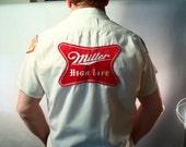 Bowling Shirt, Bob, Dunbrooke Bowler, White Cotton, 4 Patches, Miller High Life,1959 ABC League Champion, 1962 BPA, ABC Triplicate Club