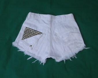 WOMENS DENIM SHORTS / cut off / studded / white