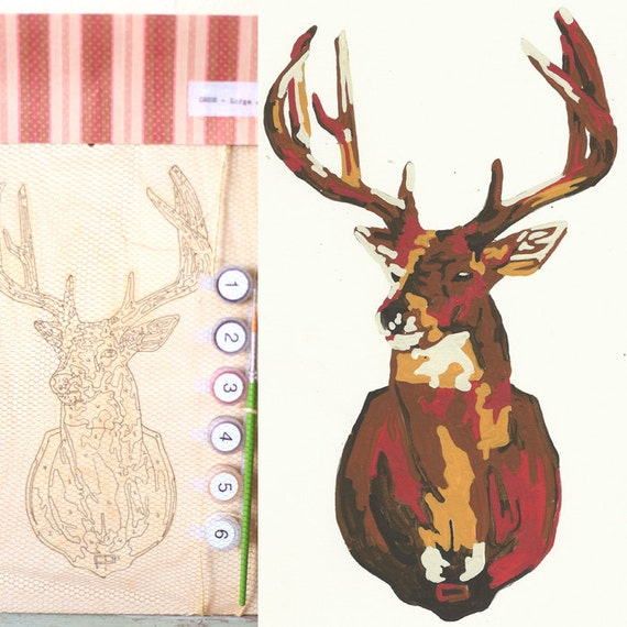 DIY Paint By Number Kit - Large Birch Deer Bust