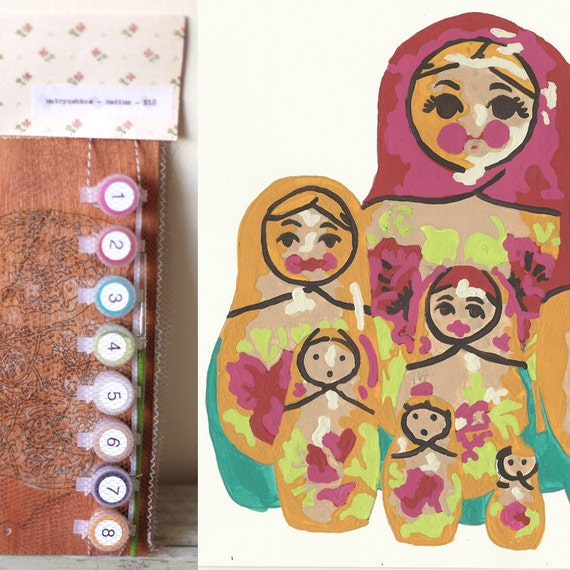 DIY Paint By Number Kit - Medium Maple Matryoshka