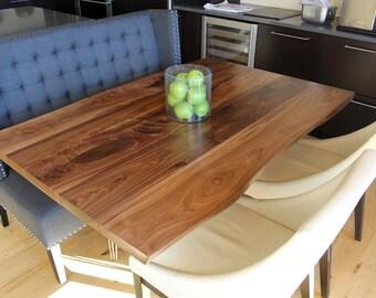 Large Dining Table - Walnut - Pedestal Hairpin Base