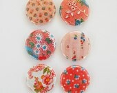 Vintage Fabric in Pink - Set of 6 Flair Buttons