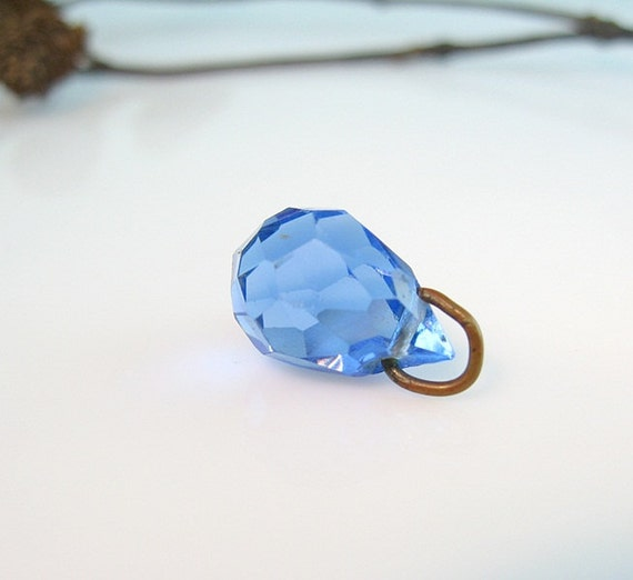 Vintage Czech Blue Glass Briolette Pendant Brass Bale Finding for Repurpose 1920s Jewelry