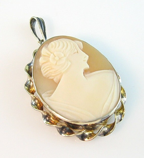 Art Deco Pendant Shell Cameo Locket Gold on Sterling AMCO Signed Lady Profile c. 1930s Jewelry