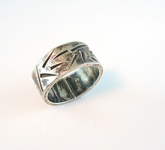 Cigar band silver ring artisan made sterling by for C leslie smith jewelry