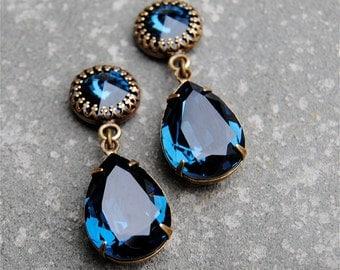 Navy Blue Earrings Swarovski Crystal Midnight Navy Post Pear Dangle Earrings Duchess Crown Mashugana