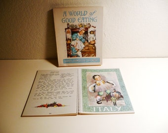 Vintage Fifties A World of Good Eating Cook Book 1951 Recipes Color Illustrations by Ellen H. Nelson Spiral Binding Box