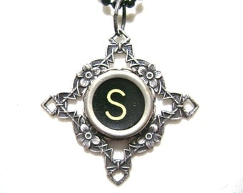 Typewriter key necklace, letter S on round black key, art deco floral diamond pendant in antiqued silver tone, with bead chain, monogram
