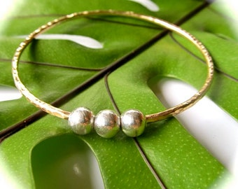 Gold Hammered Bangle, Gold or Silver Beads, Elegant, Christmas Gift Idea, Mix and Match, Handmade, Textured Bracelet, Minimalist Jewelry
