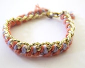 SMALL Woven Chain Bracelet Pink and Purple
