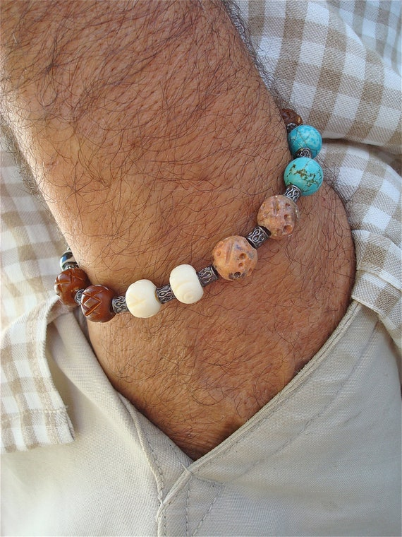 Men's Bracelet with Carved Beadwork of Bone, Stone, Turquoise Resin and Antique Brass Beads