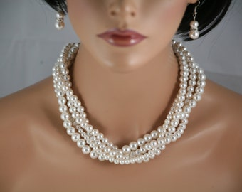 statement necklace Ivory cream multi strand braided pearl necklace for bride jewelry, bridesmaids, wedding bridal