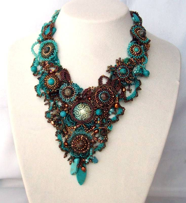 Beadwork Necklace Seed Bead Jewelry Beaded Art Necklace