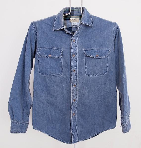 L.L. Bean Chambray Denim Flannel Lined Shirt Mens size Medium