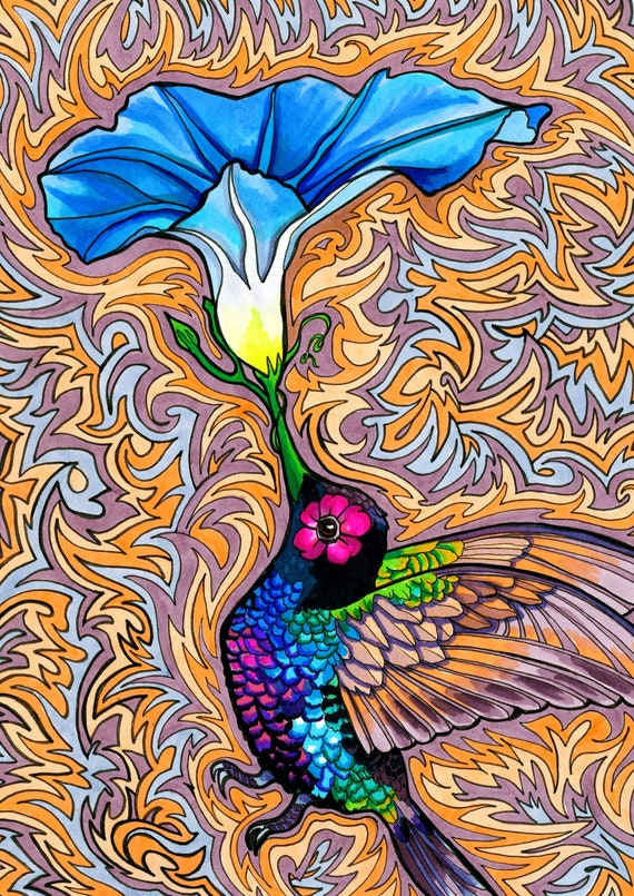 Psychedelic Flower Drawings Holy Hummingbird Print By