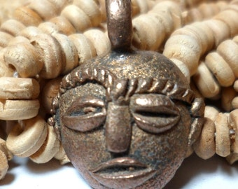 African Pendant Bead Cast Brass Mask Small