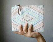 Pastel Geometry Clutch Purse, repurposed  linen, diamond shape
