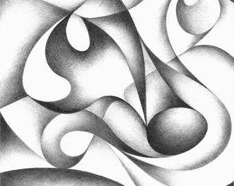 Original abstract drawing, black and white geometric freehand pen drawing, contemporary art