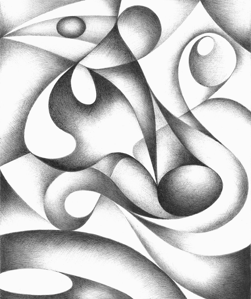 Drawing With Lines And Shapes : Original abstract drawing black and white geometric freehand
