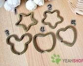 Antique Brass Key Rings - Star Flower Mickey Apple Heart - 5 PCS
