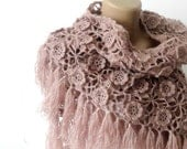 Tea rose Crochet Shawl Scarf Winter Accessories Women Wrap Crochet Scarf Shawl Gift ideas Crocheted Shawl senoaccessory