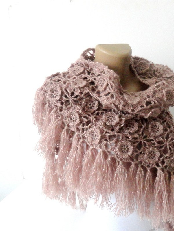 Crochet Pattern For Winter Shawl : Tea rose Crochet Shawl Scarf Winter Accessories by ...