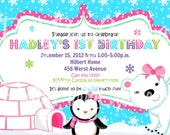 GIRL POLAR Bear and PENGUIN invitation - You Print
