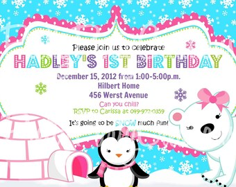 GIRL POLAR Bear and PENGUIN invitation - You Print