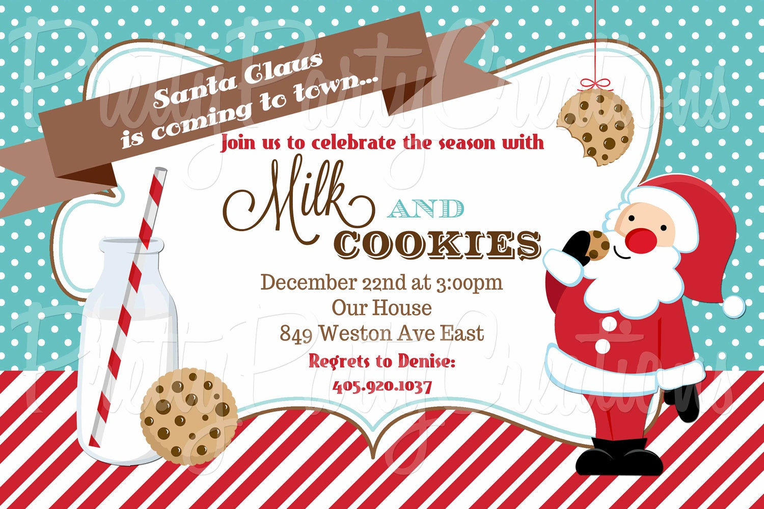 SANTA MILK and COOKIES invitation you print