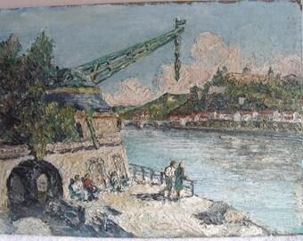 Vintage Oil Painting Art Impasto Landscape Canal Scene