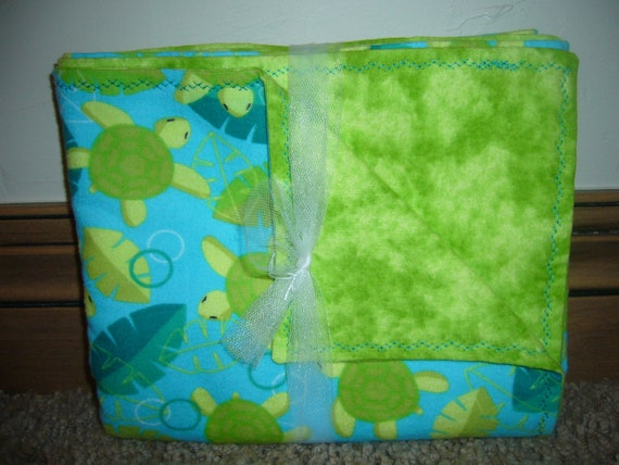 Blue and Teal Turles and Leaves Receiving Blanket - Swaddling - Baby Shower Gift