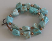 Turquoise Magnesite Statement Chunky Necklace OOAK