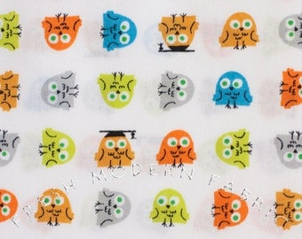 Half Yard Owls, Happy Drawing by Ed Emberley, 100% Organic Cotton, Cloud9 Fabrics