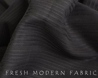 Half Yard Black Dobby Stripe Cotton, Robert Kaufman, 100% Cotton Fabric