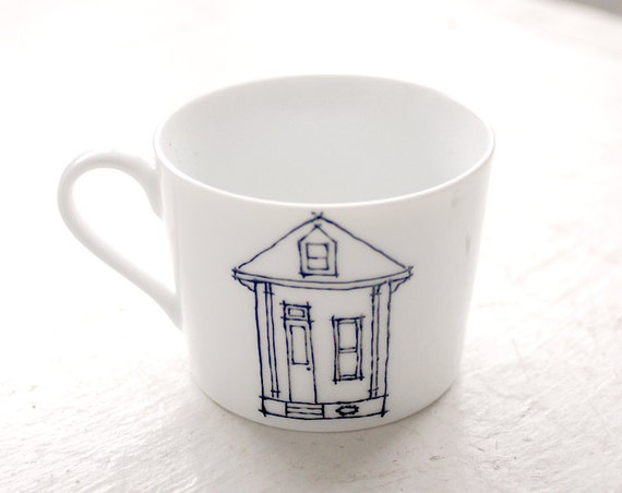 new orleans shotgun and gallery house tea cups - architectural illustrations - black and white mug