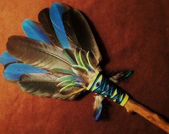 Smudge Fan- Messages from the Cosmos- Sacred Prayer Fan- with Kyanite and Driftwood Handle