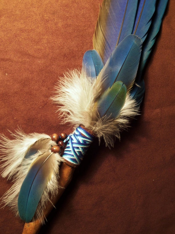 Smudge Fan- Whispering Wind- Sacred Smudge Fan with Macaw Feathers- made to order